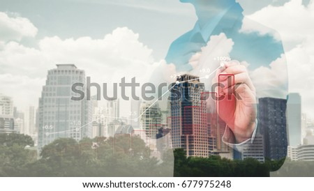 Financial business graph and city background  #677975248