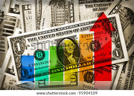 Financial business graph on retro styled background with US dollars