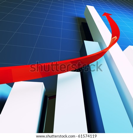 financial business stat and red arrow 3d