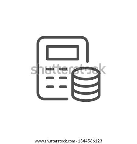 Financial calculation line icon isolated on white