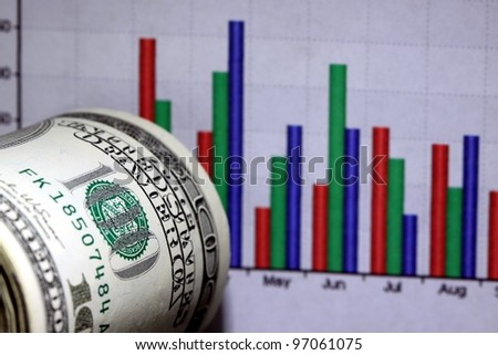 Financial Chart and US Currency One Hundred Dollar Bills.
