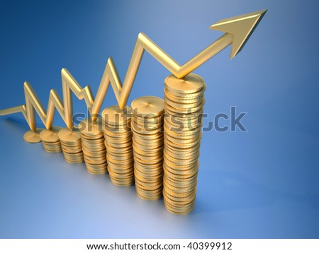 Financial chart consisting of gold penny and diagram arrow  - 3d render