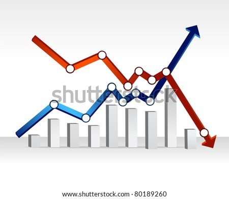 financial chart illustration design over a light gradient