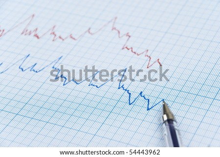 Financial chart shows  a graph in two colors red and blue  made on millimeter paper