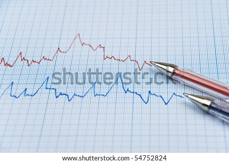 Financial chart shows  a graph in two colors red and blue with two pens made on millimeter paper