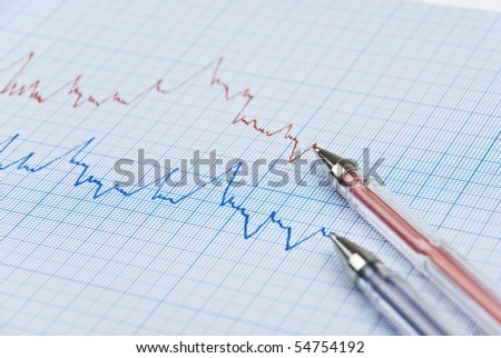 Financial chart shows  a graph in two colors red and blue with two pens made on millimeter paper,selective focus