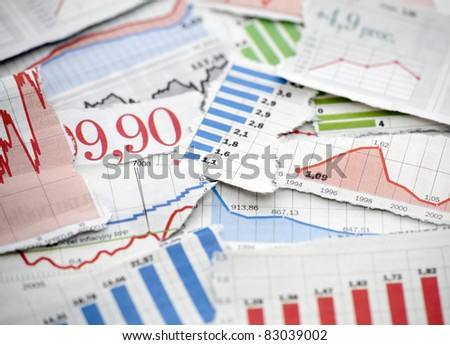 Financial charts from newspapers