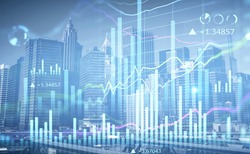 Financial charts over New York panoramic city view. The concept of international business and consulting. Double Exposure.