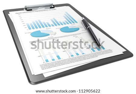 Financial. Clipboard with Papers and Pen. Graphs and Pie charts. Blue theme.