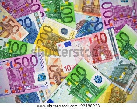 Financial concept: heap of different Euro banknotes