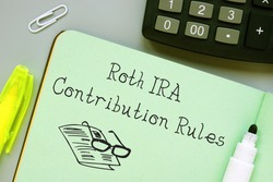 Financial concept meaning Roth IRA Contribution Rules with inscription on the sheet.