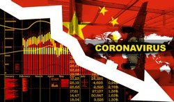 Financial crash in China by coronavirus. Down arrow and economic charts. Economic crisis in China.