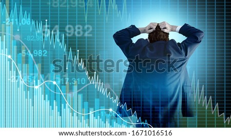 Financial crisis and Economy or economic fear and Stock market selling with a stock broker or financial advisor investor in panic mode as a recession and finance risk with 3D illustration style. Stock photo ©
