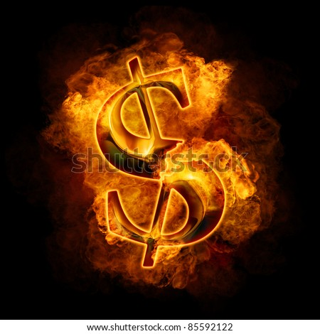 Financial crisis. Burning gold dollar