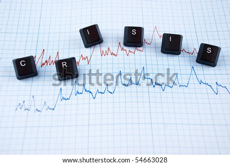 Financial crisis chart in two colors and word with letters of computer keyboard