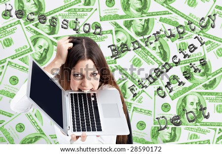 Financial crisis concept by businesswoman over dollar background.