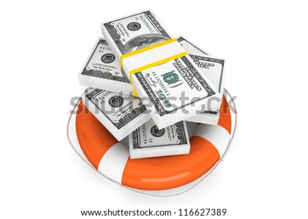 Financial Crisis concept. Dollars with Life Buoy on a white background