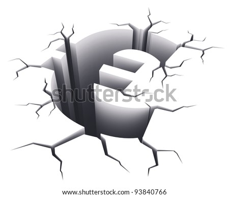 Financial crisis concept: Euro sign shape hole with cracks isolated on white background - stock photo