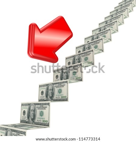 Financial crisis concept.Isolated on white background.3d rendered.