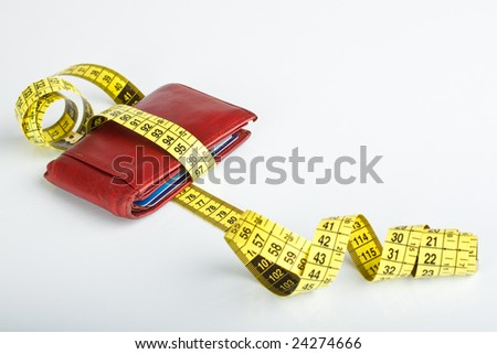 financial crisis concept, wallet with measuring tape