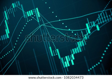 Financial data in term of a digital prices on LED display. A number of daily market price and quotation of prices chart to represent candle stick tracking in Forex trading.