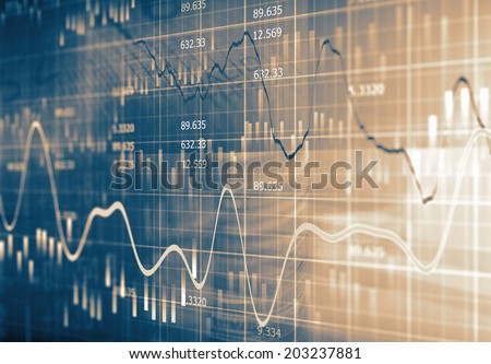 Financial data on a monitor