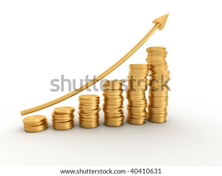 Financial diagram consisting of conceptual golden coins  - 3d render