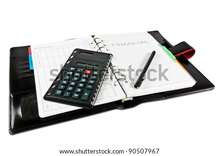 financial diary with clipping path and pen