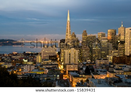 Financial district at San Francisco, California at dusk.