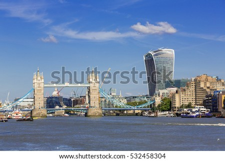 Financial District of London and the Tower Bridge #532458304
