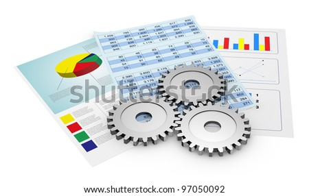 financial documents showing spreadsheet and charts, and gears (3d render)