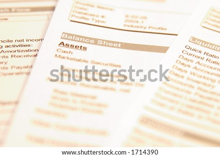 """Financial documents with focus on words """"Balance sheet"""". Very easy to shift colours."""