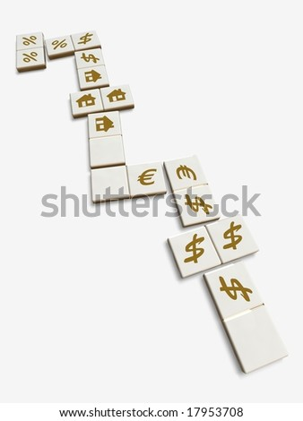 Financial dominoes concept