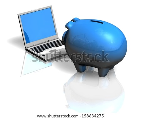 financial education concept illustration with piggy bank and computer