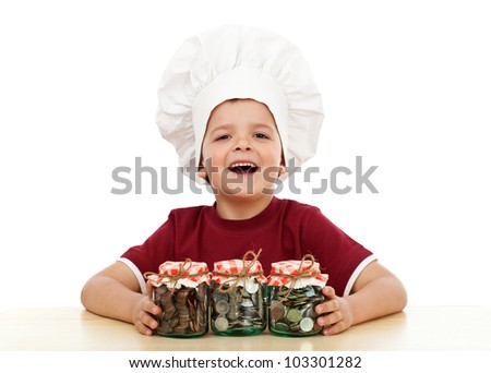 Financial education - importance of savings concept with child and canned coins
