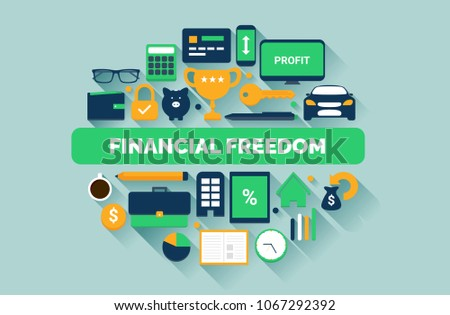Financial Freedom Flat Design Illustration Business And Passive Income Streams Icons