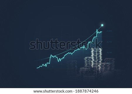 Financial graph increases with business investments and gold coins.