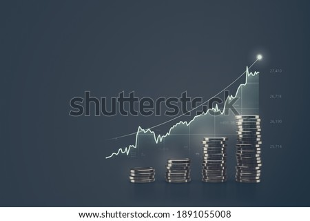Financial graph of earnings money in global markets and investment business or economy stock. Foto stock ©