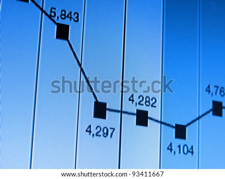 Financial graph on a monitor