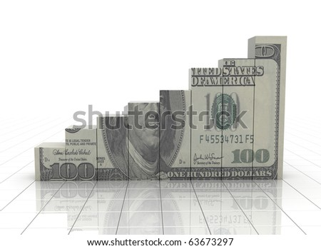 Financial graph with dollar texture