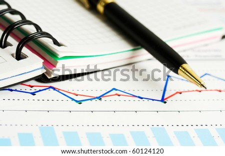 Financial graphs and charts.