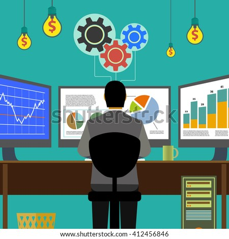 Financial graphs and charts. Monitor computer, work place broker. Stock Exchange. Make money. Stock illustration.