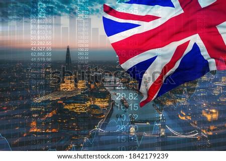 Financial Great Britain flag, united kingdom economy and european union flag