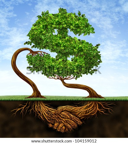 Financial growth agreement with two trees in the shape of a dollar sign and the roots in the form of hands shaking in partnership of a contract deal  for wealth success on a blue sky.