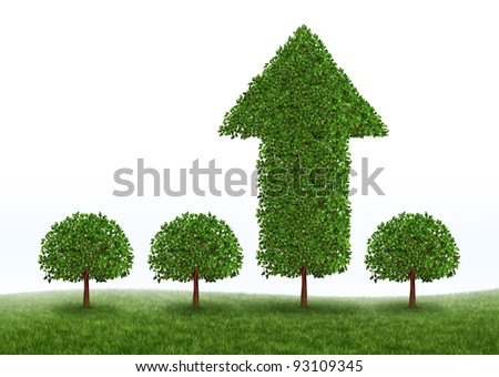 Financial growth and business success with the best investment choices from professional financial advice for retirement as green trees with one performing money tree in the shape of an arrow.