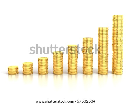 financial growth or money saving 3d concept