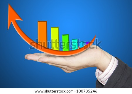 financial hand and business graph. - stock photo