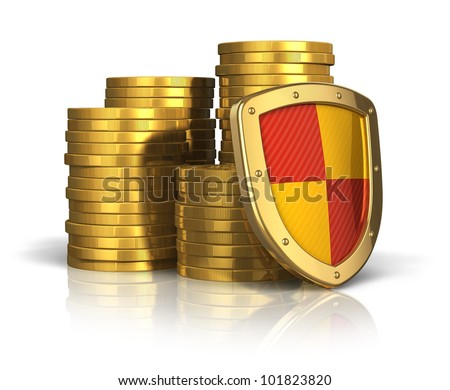 Financial insurance and business stability concept: stacks of golden coins covered by protection shield isolated on white background with reflection effect - stock photo