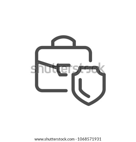 Financial insurance line icon isolated on white