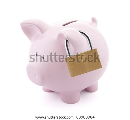 Financial insurance. Piggy bank with padlock